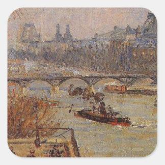O Louvre por Camille Pissarro Adesivo Quadrado