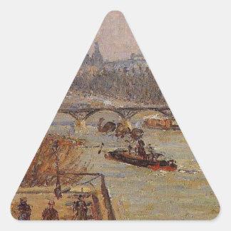 O Louvre por Camille Pissarro Adesivo Triangular