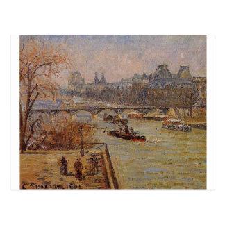 O Louvre por Camille Pissarro Cartão Postal