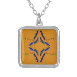 O luxo ornaments o vintage do azul do ouro colar banhado a prata