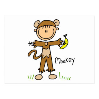 O macaco veste acima t-shirt e presentes cartão postal