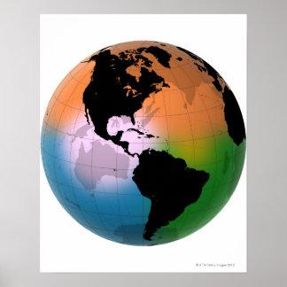 O mapa atual de oceano de Americas Poster