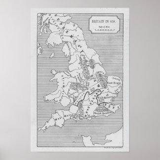 O mapa de Grâ Bretanha produziu por Stanford Poster