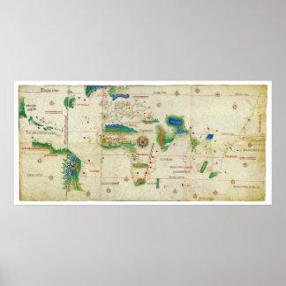 O mapa do mundo do Planisphere de Cantino (1502) Poster