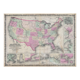 O mapa militar de Johnson dos Estados Unidos Poster