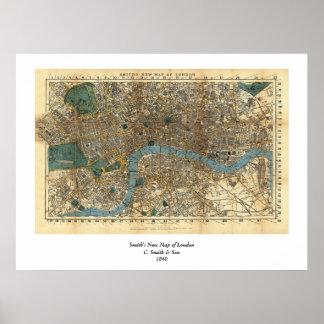 O mapa novo de Smith de Londres 1860 Pôster