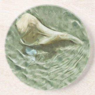 O mar Shell em água movente abstrai o Porta Copos De Arenito
