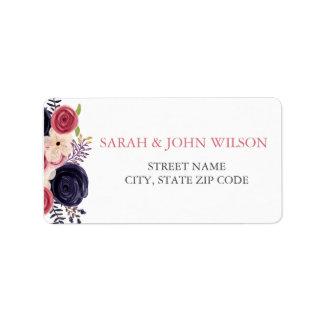O marinho e cora casamento floral etiqueta de endereço