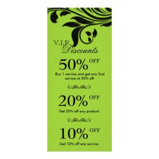 O marketing do salão de beleza carda o preto flora 10.16 x 22.86cm panfleto