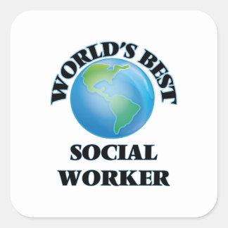 O melhor assistente social do mundo adesivo quadrado