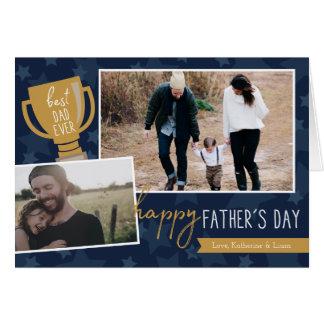 Cartão O melhor cartão da foto do prêmio do pai