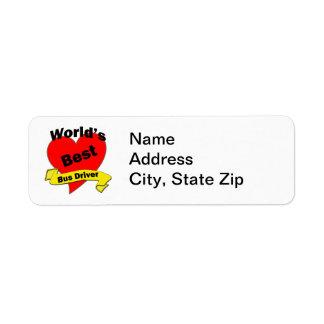 O melhor condutor de autocarro do mundo etiqueta endereço de retorno