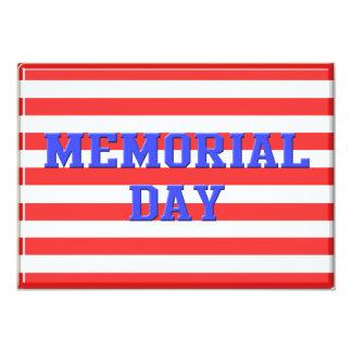 O Memorial Day convida o azul com as listras Convite 12.7 X 17.78cm