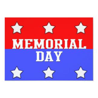 O Memorial Day convida o vermelho & o azul com Convite 12.7 X 17.78cm