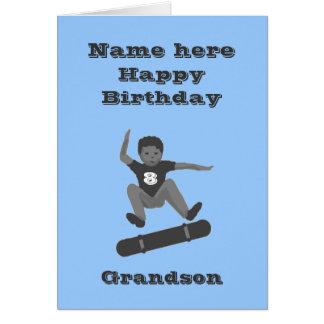 O menino Skateboarding, aniversário do neto Cartão Comemorativo