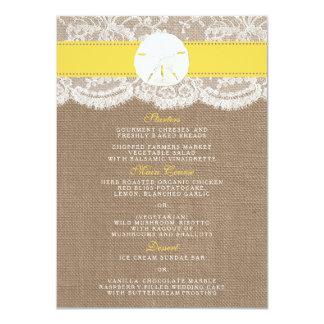 O menu amarelo da coleção do casamento do dólar de convite 11.30 x 15.87cm