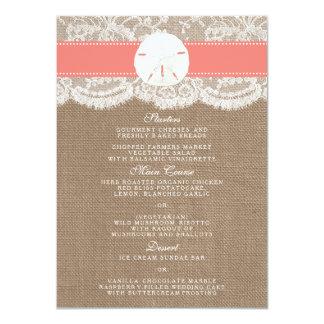 O menu coral da coleção do casamento do dólar de convite 11.30 x 15.87cm