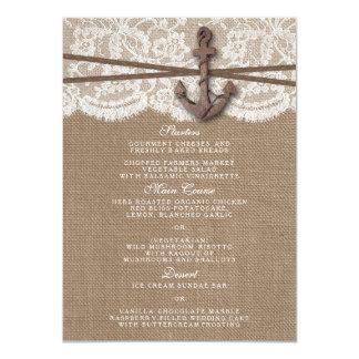 O menu náutico rústico da coleção do casamento da convite 11.30 x 15.87cm