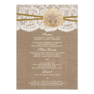 O menu rústico da coleção do casamento do dólar de convite 11.30 x 15.87cm
