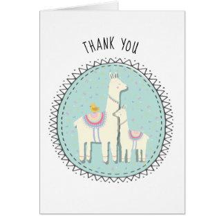 o momma e o bebê do lama agradecem-lhe cartões de