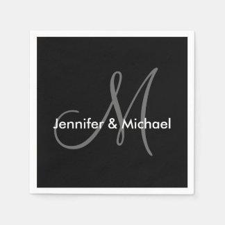 O monograma do casamento nomeia o cinza branco guardanapo de papel