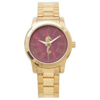 O monograma do cavalo marinho do ouro personaliza relógio de pulso