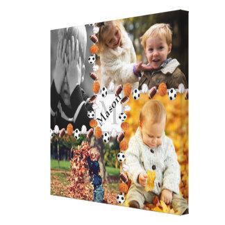 O monograma dos meninos ostenta a colagem da foto