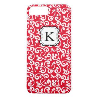 O monograma feminino bonito floral, personaliza a capa iPhone 8 plus/7 plus