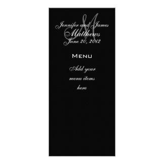 O monograma nomeia cartões do menu do casamento da 10.16 x 22.86cm panfleto