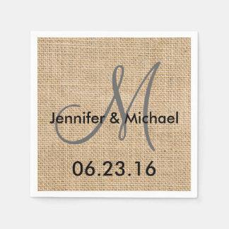 O monograma rústico do casamento de serapilheira guardanapo de papel