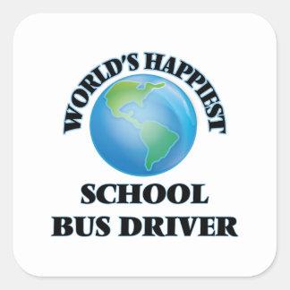 O motorista de auto escolar o mais feliz do mundo adesivo quadrado