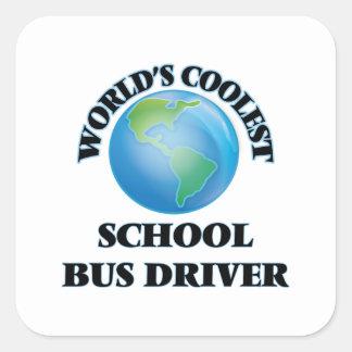O motorista de auto escolar o mais fresco do mundo adesivo quadrado