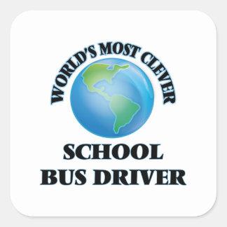 O motorista de auto escolar o mais inteligente do adesivo quadrado