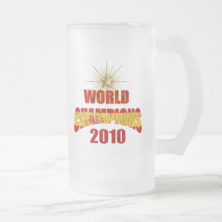 O mundo da espanha patrocina 2010 caneca de cerveja vidro jateado