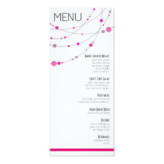 O na moda encalha o fuschia branco do menu | convites personalizado