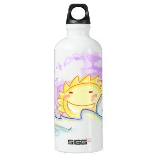 O nascer do sol feliz sorri com garrafa das nuvens