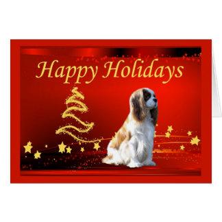 O Natal descuidado do Spaniel de rei Charles Stars Cartão Comemorativo