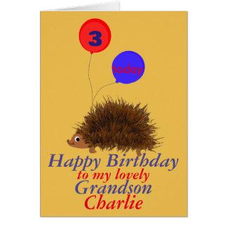 O neto do aniversário dos desenhos animados do cartão comemorativo