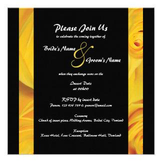 O noivado amarelo preto do casamento PERSONALIZA Convite Personalizado
