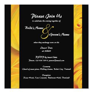 O noivado amarelo preto do casamento PERSONALIZA Convite Quadrado 13.35 X 13.35cm