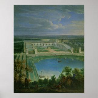 O Orangery e o castelo em Versalhes, 1696 Posteres