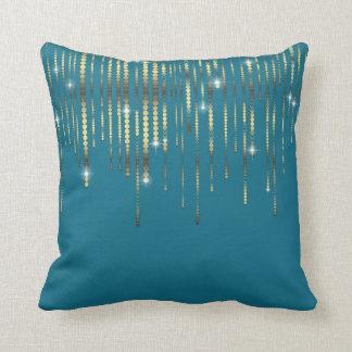 O ouro azul da cerceta drapeja a faísca do luxo de travesseiro