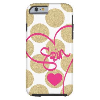 O ouro corajoso do brilho pontilha o coração e capa para iPhone 6 tough