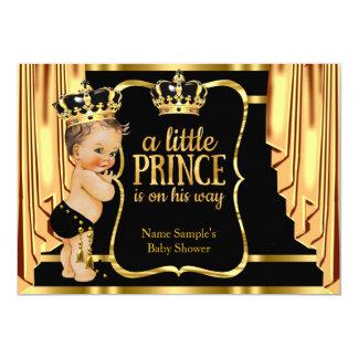 O ouro do preto do príncipe chá de fraldas drapeja convite 12.7 x 17.78cm