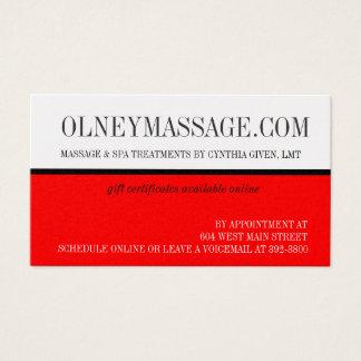 O ouro e a massagem vermelha e os termas contactam cartão de visitas