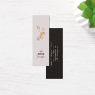 O ouro elegante moderno do falso Scissors o pente Cartão De Visitas Mini