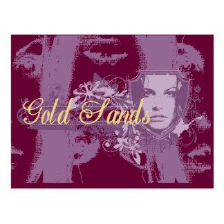 O ouro lixa t-shirt e presentes da menina cartão postal
