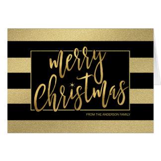 O ouro na moda do Feliz Natal listra o Mão-Roteiro Cartão Comemorativo