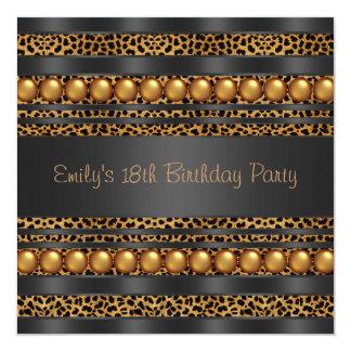 O ouro peroliza festa de aniversário das meninas convite quadrado 13.35 x 13.35cm