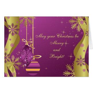 O ouro roxo Ornaments o cartão de Natal